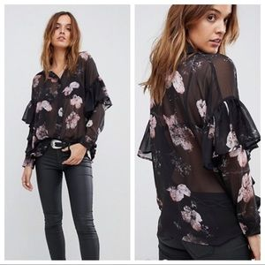 ASOS Religion Sheer Floral Shirt